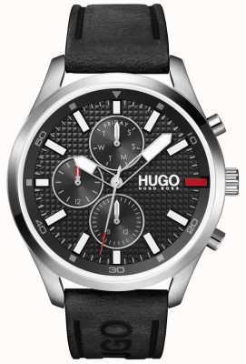 HUGO #Caza de los hombres | esfera negra | reloj con correa de cuero negro 1530161