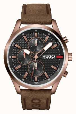 HUGO Hombres #chase rose-gold ip | esfera negra | reloj con correa de cuero marrón 1530162