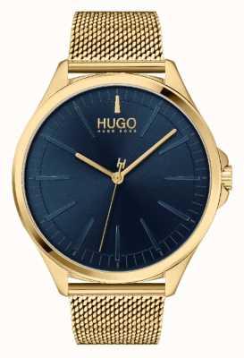 HUGO Hombres #smash casual | esfera azul | pulsera de malla ip dorada 1530178