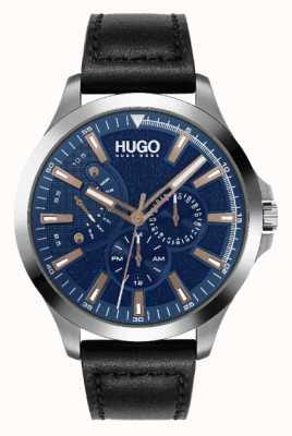 HUGO #Leap de los hombres | esfera azul | acento de oro rosa | reloj con correa de cuero negro 1530172