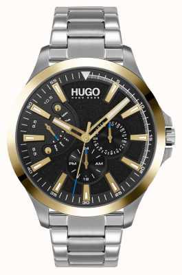 HUGO #leap casual | esfera negra | pulsera de acero inoxidable 1530174