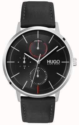 HUGO #exist | esfera negra | multifuncional | reloj con correa de cuero negro 1530169