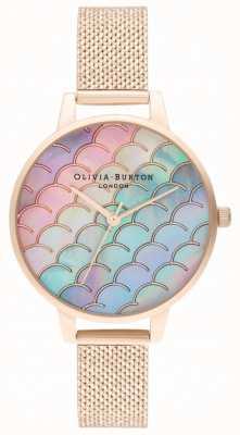 Olivia Burton Mermaid tail demi dial reloj de malla de oro rosa boucle OB16US45