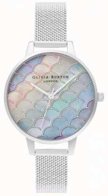 Olivia Burton Mermaid tail demi dial reloj plateado de malla boucle OB16US46