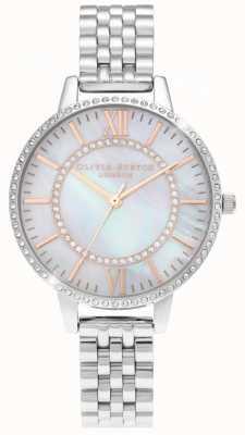 Olivia Burton Wonderland nácar reloj de plata con esfera demi OB16WD91