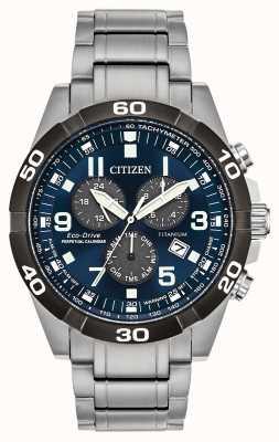 Citizen Brycen super titanium perpetual calendar reloj con esfera azul BL5558-58L