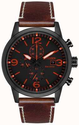 Citizen Reloj deportivo para hombre eco-drive negro ip marrón con correa de piel CA0617-11E
