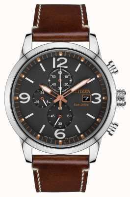 Citizen Reloj deportivo con correa de cuero marrón eco-drive para hombre CA0618-26H