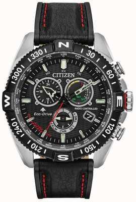 Citizen Mens promaster navihawk radiocontrolado en chrono dial negro cuero negro CB5841-05E