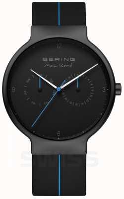 Bering Max rene masculino | correa de silicona negra | esfera negra / azul 15542-428