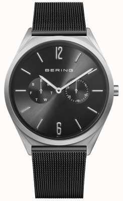 Bering Ultra delgado | correa de malla de acero negro | esfera negra 17140-102