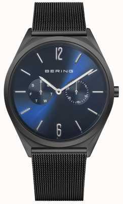 Bering Ultra delgado | pulsera de malla de acero negro | esfera azul 17140-227