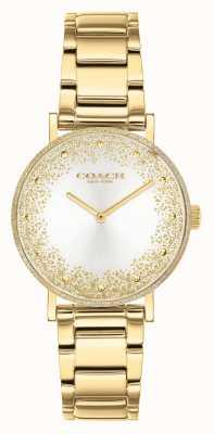 Coach Perry de las mujeres | pulsera de acero chapado en oro | esfera plateada 14503638