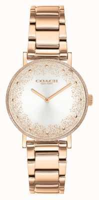 Coach Perry de las mujeres | pulsera de acero en oro rosa | esfera plateada 14503639