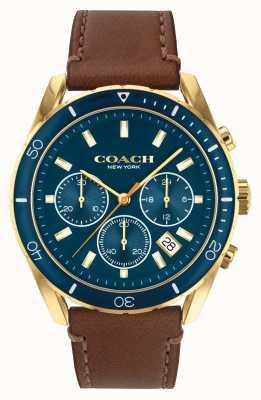Coach Preston de los hombres | correa de cuero marrón | esfera azul 14602513