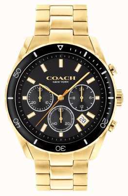 Coach Preston para hombres | pulsera de acero chapado en oro | esfera negra 14602517