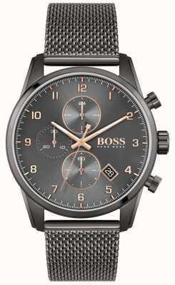 BOSS Skymaster sport lux | pulsera de malla ip negra | esfera negra 1513837