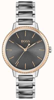 BOSS Firma de la mujer | pulsera de acero bicolor | esfera gris 1502569