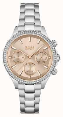 BOSS Hera de las mujeres | pulsera de acero inoxidable | esfera rosa 1502565
