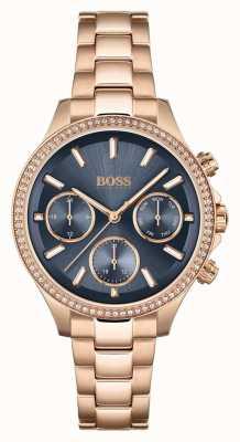 BOSS Hera de las mujeres | pulsera de acero en oro rosa | esfera azul 1502566