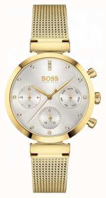 BOSS Mujer impecable | pulsera de malla chapada en oro | esfera plateada 1502552