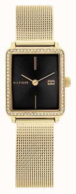 Tommy Hilfiger Té de mujeres | pulsera de malla chapada en oro | esfera cuadrada negra 1782295