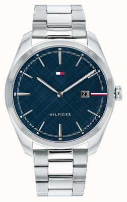 Tommy Hilfiger Theo de los hombres | pulsera de plata de acero inoxidable | esfera azul 1710426