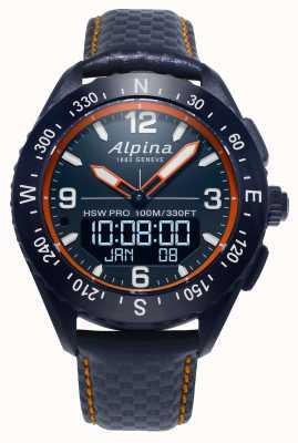 Alpina Reloj inteligente Alpinerx con correa de piel azul marino AL-283LNO5NAQ6L