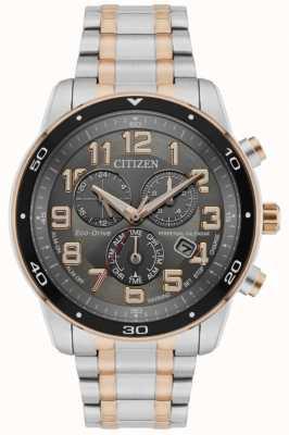 Citizen Reloj cronógrafo con alarma de calendario perpetuo eco-drive para hombre, esfera negra de dos tonos BL5516-58H