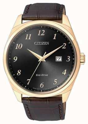 Citizen Reloj eco drive para hombre con correa de cuero marrón ip dorado BM7323-11E