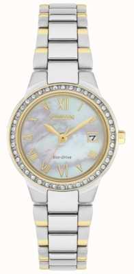 Citizen Reloj con esfera de nácar en dos tonos y cristal eco-drive de silueta para mujer EW1994-57N