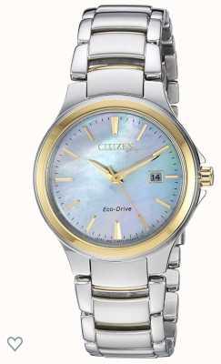 Citizen Reloj ip para mujer silueta eco-drive nácar de acero inoxidable y oro rosa EW2524-55N