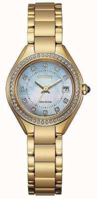 Citizen Reloj de mujer con silueta de cristal ip dorado y nácar EW2552-50D