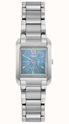Citizen Reloj para mujer l eco-drive cuadrado con esfera de nácar EW5551-56N