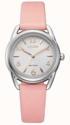 Citizen Reloj de cuero rosa eco-drive de silueta para mujer FE1210-07A