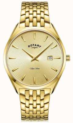 Rotary Hombres ultradelgados | pulsera de acero chapado en oro | esfera de oro GB08013/03