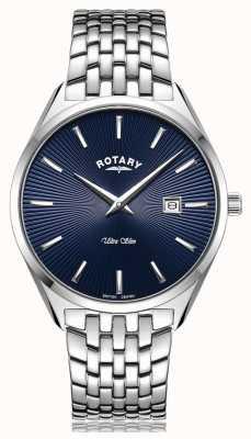 Rotary Reloj ultraplano con esfera azul plateada GB08010/05