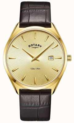 Rotary Hombres ultradelgados | correa de cuero marrón | caja chapada en oro pvd GS08013/03