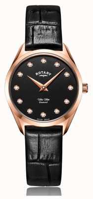 Rotary Reloj ultradelgado para mujer con diamantes en oro rosa LS08014/04/D