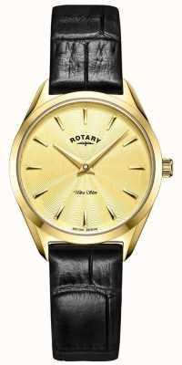 Rotary Reloj de piel dorado ultradelgado para mujer LS08013/03