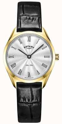 Rotary Reloj de piel dorado ultradelgado para mujer LS08013/01