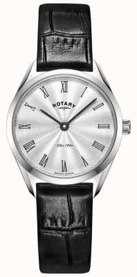 Rotary Reloj de cuero plateado ultradelgado para mujer LS08010/01