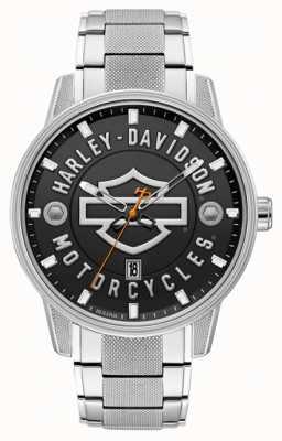 Harley Davidson ¡Hombres para él! | pulsera de acero inoxidable | esfera negra 76B182