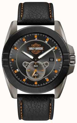 Harley Davidson ¡Hombres para él! | correa de cuero negro | esfera gris 78B182
