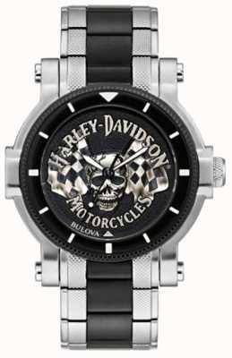 Harley Davidson Cráneo y banderas de los hombres | pulsera de acero bicolor | esfera negra 78A124