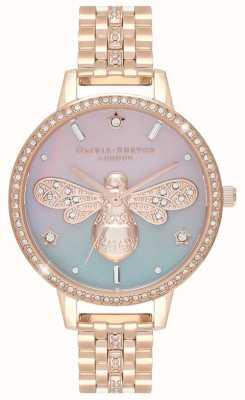 Olivia Burton Abeja brillo de las mujeres | pulsera de acero en oro rosa | conjunto de cristal OB16GB04