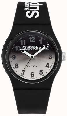 Superdry Lazer urbano   correa de silicona negra   esfera negra y gris SYG198EB
