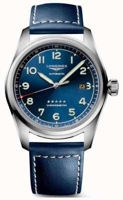 Longines Esfera azul espíritu 42 mm automático cuero azul L38114930