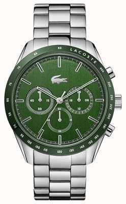 Lacoste | hombres | Boston | pulsera de acero inoxidable | esfera verde | 2011080