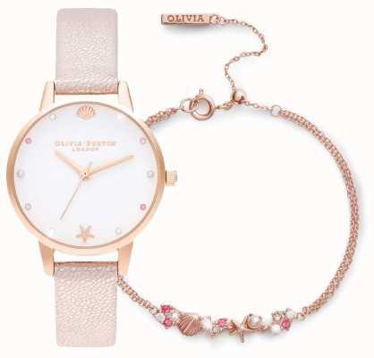 Olivia Burton Bajo el mar | set de regalo reloj y pulsera | Rosa OBGSET141